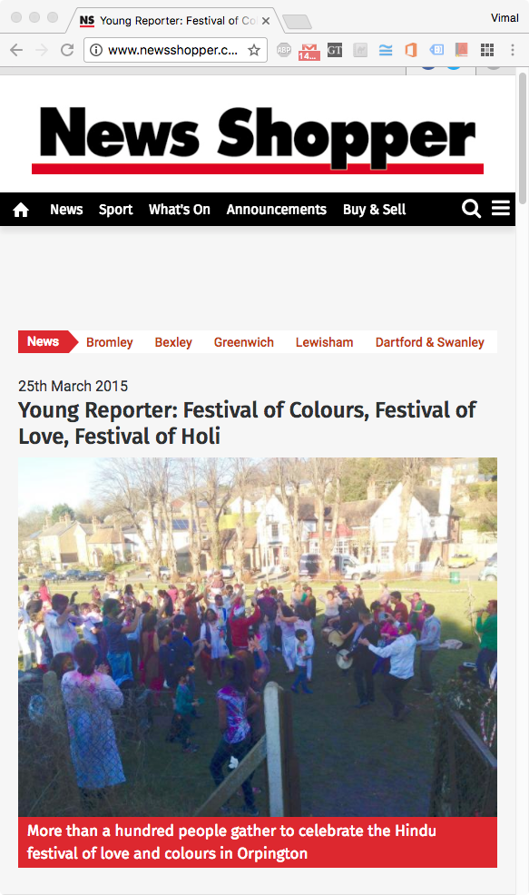 Young Reporter: Festival of Colours, Festival of Love, Festival of Holi